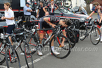 "Dale Appleby of the NFTO racing team prepares his bicycle for the race during the Abergavenny Festival of Cycling ""Grand Prix of Wales"" race on Sunday 17th 2016<br /> <br /> <br /> Jeff Thomas Photography -  www.jaypics.photoshelter.com - <br /> e-mail swansea1001@hotmail.co.uk -<br /> Mob: 07837 386244 -"