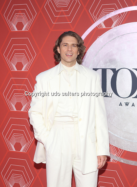 Aaron Tveit, Tony Award Winner for Best Performance by an Actor in a Leading Role in a Musical,  attends the 74th Tony Awards-Broadway's Back! arrivals at the Winter Garden Theatre in New York, NY, on September 26, 2021.