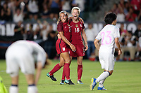 Carson, CA - Thursday August 03, 2017: Mallory Pugh, Megan Rapinoe during a 2017 Tournament of Nations match between the women's national teams of the United States (USA) and Japan (JPN) at the StubHub Center.