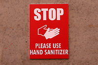 Use Hand Sanitizer signage during Leyton Orient vs Crawley Town, Sky Bet EFL League 2 Football at The Breyer Group Stadium on 19th December 2020