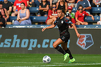 BRIDGEVIEW, IL - JULY 18: Mallory Pugh #9 of the Chicago Red Stars dribbles the ball during a game between OL Reign and Chicago Red Stars at SeatGeek Stadium on July 18, 2021 in Bridgeview, Illinois.