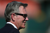 OAKLAND, CA - OCTOBER 02:  Executive vice president of baseball operations and minority owner of the Oakland Athletics Billy Beane talks on the field before the American League Wild Card Game between the Tampa Bay Rays and Oakland Athletics at RingCentral Coliseum on Wednesday, October 2, 2019 in Oakland, California. (Photo by Brad Mangin)