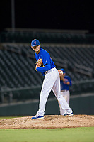 AZL Cubs relief pitcher Nathan Sweeney (47) checks a runner at first base during a game against the AZL Brewers on August 6, 2017 at Sloan Park in Mesa, Arizona. AZL Cubs defeated the AZL Brewers 8-7. (Zachary Lucy/Four Seam Images)