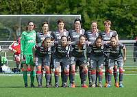 20140419 - ANTWERPEN , BELGIUM : Standard team pictured with goalkeeper Sabrina Broos , Maud Coutereels , Imke Courtois , Cecile De Gernier , Julie Biesmans , Aline Zeler ,Kim Mourmans , Riete Loos , Tessa Wullaert , Vanity Lewerissa and Audrey Demoustier (r) during the soccer match between the women teams of RAFC Antwerp Ladies  and Standard Femina  , on the 24th matchday of the BeNeleague competition on Saturday 19 April 2014 in Deurne .  PHOTO DAVID CATRY