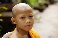 Monks and novices in Mount-Phusi,  Luang Prabang, Laos.