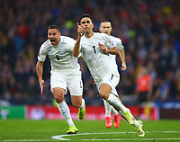 9th October 2021; Hampden Park, Glasgow, Scotland; FIFA World Cup football qualification, Scotland versus Israel;  Eran Zahavi of Israel celebrates after he makes it 0-1 to Israel in the 5th minute