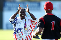 Denean Howard Hill after throwing out the first pitch before a Batavia Muckdogs game against the Mahoning Valley Scrappers at Dwyer Stadium on July 4, 2011 in Batavia, New York.  Howard-Hill is the mother of Muckdogs outfielder Virgil Hill and former Olympic Track & Field Gold Medalist.  Batavia defeated Mahoning Valley 3-2.  (Mike Janes/Four Seam Images)
