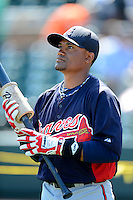 Atlanta Braves catcher Luis De La Cruz during practice before a Spring Training game against the Detroit Tigers at Joker Marchant Stadium on February 27, 2013 in Lakeland, Florida.  Atlanta defeated Detroit 5-3.  (Mike Janes/Four Seam Images)