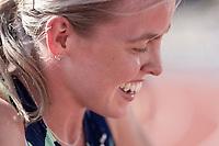 4th July 2021; Stockholm Olympic Stadium, Stockholm, Sweden; Diamond League Grand Prix Athletics, Bauhaus Gala; Keely Hodgkinson celebrates a 1;57 Personal Best in the 800m