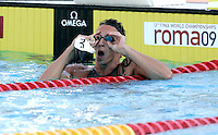 France's Frederick Bousquet reacts after winning the silver medal in the Men's 50m Freestyle final at the Swimming World Championships in Rome, 1 August 2009. .UPDATE IMAGES PRESS/Riccardo De Luca