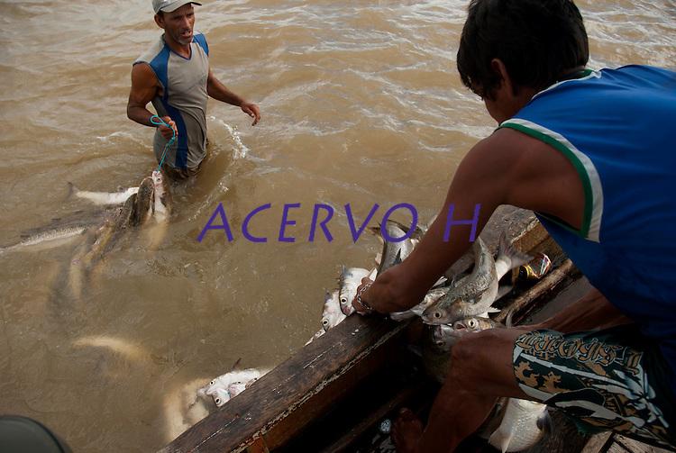 Pescadores artesanais retiram peixes da rede montada em um banco de areia a cerca de 3 km no litoral do Pará, na foz do rio Amazonas, e preparam a fieira  para transportar os peixes até o barco. Os pescadores chegam a capturar cerca de 200 quilos de pescado por dia entre: piramutabas, sardinhas, filhotes, pescada amarela, robalo e tainhas.<br />  Curuçá, Pará, Brasil. <br /> Foto: Paulo Santos<br />  17/05/2009