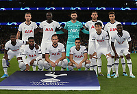 The Tottenham Hotspur team group prior to kick off<br /> <br /> Photographer Rob Newell/CameraSport<br /> <br /> UEFA Champions League Group B  - Tottenham Hotspur v Bayern Munich - Tuesday 1st October 2019 - White Hart Lane - London<br />  <br /> World Copyright © 2018 CameraSport. All rights reserved. 43 Linden Ave. Countesthorpe. Leicester. England. LE8 5PG - Tel: +44 (0) 116 277 4147 - admin@camerasport.com - www.camerasport.com