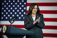 United States Vice President Kamala Harris speaks while visiting the M&T Bank Stadium Mass Vaccination Site on her 100th day in office in Baltimore, Maryland, USA, 29 April 2021.<br /> CAP/MPI/RS<br /> ©RS/MPI/Capital Pictures