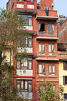 Nepal, Patan.  Tall Narrow Houses.