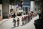 Bora-Hansgrohe lead the peloton during Stage 5 of the 2019 Tour de France running 175.5km from Saint-Die-des-Vosges to Colmar, France. 10th July 2019.<br /> Picture: ASO/Pauline Ballet | Cyclefile<br /> All photos usage must carry mandatory copyright credit (© Cyclefile | ASO/Pauline Ballet)