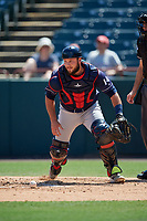 Binghamton Rumble Ponies catcher Dustin Houle (14) during an Eastern League game against the Bowie Baysox on August 21, 2019 at Prince George's Stadium in Bowie, Maryland.  Bowie defeated Binghamton 7-6 in ten innings.  (Mike Janes/Four Seam Images)