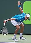 April 1 2016: Novak Djokovic (SRB) wins first set in tiebreaker at the Miami Open being played at Crandon Park Tennis Center in Miami, Key Biscayne, Florida. ©Karla Kinne/Tennisclix/Cal Sports Media