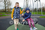 Dominic Novak and Natalia Adamek from Tralee enjoying the swings in the Tralee town park on Sunday.