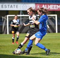 Loes Van Mullem (33) of Eendracht Aalst pictured fighting for the ball with defender Sterre Gielen (14) of KRC Genk during a female soccer game between Eendracht Aalst and Racing Genk on the 10 th and last matchday of play off 2 of the 2020 - 2021 season of Belgian Scooore Womens Super League , Saturday 29 st of May 2021  in Aalst , Belgium . PHOTO SPORTPIX.BE | SPP | DAVID CATRY