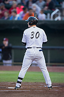 Idaho Falls Chukars designated hitter Nick Hutchins (30) at bat during a Pioneer League game against the Billings Mustangs at Melaleuca Field on August 22, 2018 in Idaho Falls, Idaho. The Idaho Falls Chukars defeated the Billings Mustangs by a score of 5-3. (Zachary Lucy/Four Seam Images)