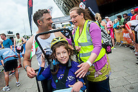 COPY BY TOM BEDFORD<br /> Sunday 26 June 2016<br /> Pictured: Poppy and dad Rob with Mum Rachel after crossing the finish line  in Cardiff Bay <br /> Re: A very special father-and-daughter team have tackled the Cardiff Triathlon.<br /> Poppy Jones, 11, who will be competing alongside dad Rob Jones, wants to win the event.<br /> And she's not going to let the fact that she has quadriplegic cerebral palsy , which means she can't sit, stand, roll or support herself, and chronic lung disease stop her.<br /> She will be by Rob's side every step of the way thanks to a cutting-edge wheelchair and boat – for Rob to push or pull – designed especially for the event, which sees participants take part in a swim across Cardiff Bay , a run and a bike ride.