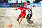 JALAL Sameh of Lebanon fights for the ball with BARAN Hazrat Gul of Afghanistan during the Beach Soccer Men's Team Bronze Medal Match between Lebanon and Afghanistan on Day Nine of the 5th Asian Beach Games 2016 at Bien Dong Park on 02 October 2016, in Danang, Vietnam. Photo by Marcio Machado / Power Sport Images