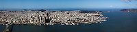 aerial panoramic photograph of the San Francisco, California sklyine in 2012
