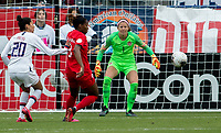 Stephanie Labbe #1 GK of Canada defending her goal