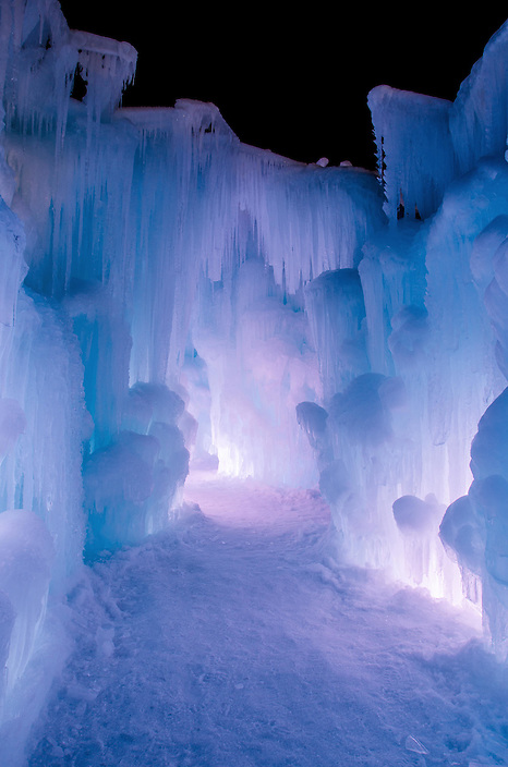 An icy corridor in the Ice Castle at Loon Mountain.