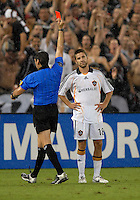 Los Angeles Galaxy Kyle Martino (18) gets a red card after fouling DC United Fred (7). DC United defeated the Los Angeles Galaxy 1-0,  at RFK Stadium Washington DC, Thursday August 9, 2007.