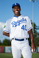 Burlington Royals pitching coach Carlos Martinez (40) poses for a photo prior to the game against the Danville Braves at Burlington Athletic Stadium on August 12, 2017 in Burlington, North Carolina.  The Braves defeated the Royals 5-3.  (Brian Westerholt/Four Seam Images)