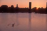 Rowing, Harvard University at dawn, rower on the Charles River, Cambridge, Massachusetts, New England, USA,.