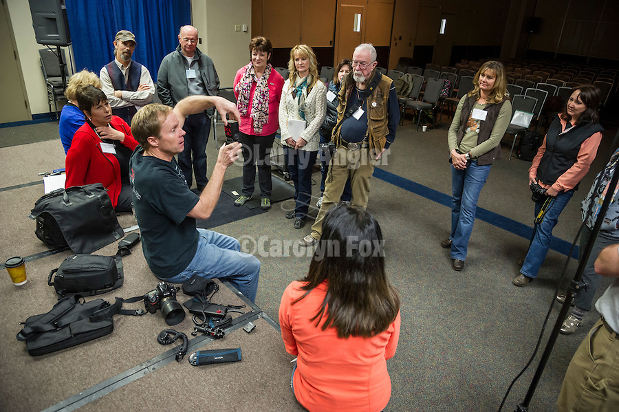 Shooting the West XXVI, Winnemucca, Nev.<br /> <br /> Tom Bol teaches participants about small camera lighting and speed lights in the classroom at the Convention Center.<br /> <br /> Creative Lighting for Better Images