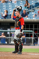 Matt Thaiss #10 of Jackson Memorial High School in Jackson, New Jersey playing for the Philadelphia Phillies scout team during the East Coast Pro Showcase at Alliance Bank Stadium on August 2, 2012 in Syracuse, New York.  (Mike Janes/Four Seam Images)