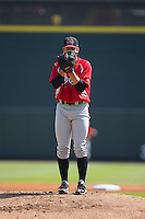 Carolina Mudcats starting pitcher Lucas Sims (27) looks to his catcher for the sign against the Winston-Salem Dash at BB&T Ballpark on April 22, 2015 in Winston-Salem, North Carolina.  The Dash defeated the Mudcats 4-2..  (Brian Westerholt/Four Seam Images)