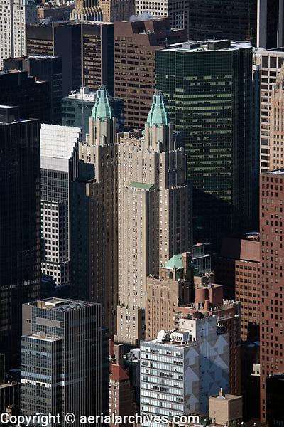 aerial photograph of the Waldorf Astoria New York and adjacent skyscrapers, Manhattan, New York City