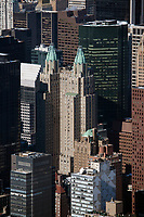 aerial photograph of the Waldorf Astoria New York and adjacent skyscrapers, Manhattan, New York City