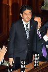 December 24, 2014, Tokyo, Japan - Prime Minister Shinzo Abe is applauded as he is re-elected as Japan's leader during a special Diet session in Tokyo convened on Wednesday, December 24, 2014, for three days following LDP's landslide victory in the December 14 general election. All but one minister are likely to remain in the new Cabinet Abe is to form, except scandal-tinted Defense Minister Akinori Eto, who will be replaced by former defense chief Gen Nakatani.  (Photo by Natsuki Sakai/AFLO)