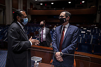 United States Representative Al Green (Democrat of Texas)  and  U.S. Secretary of the Treasury Steven Mnuchin greet each other after testifying before the House Financial Services Committee on Capitol Hill on June 30, 2020 in Washington, DC. Federal Reserve Chairman Jerome Powell and Treasury Secretary Steven Mnuchin testified on their agencies response to the coronavirus pandemic. <br /> Credit: Tasos Katopodis/CNP/AdMedia