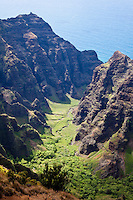 Awa'awapuhi valley hiking trail on the north Na Pali coastline of Kauai.