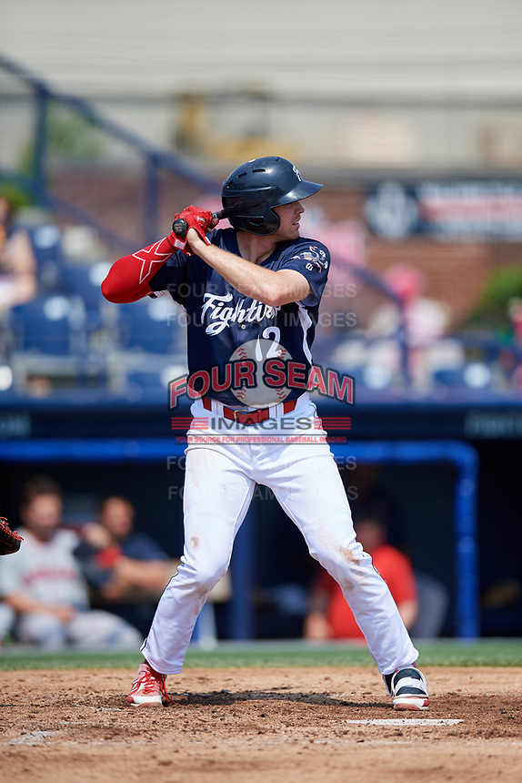 Reading Fightin Phils first baseman Zach Green (12) at bat during the first game of a doubleheader against the Portland Sea Dogs on May 15, 2018 at FirstEnergy Stadium in Reading, Pennsylvania.  Portland defeated Reading 8-4.  (Mike Janes/Four Seam Images)