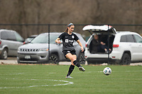 LOUISVILLE, KY - MARCH 13: Kaleigh Riehl #18 of Racing Louisville FC kicks the ball during warmups before a game between West Virginia University and Racing Louisville FC at Thurman Hutchins Park on March 13, 2021 in Louisville, Kentucky.