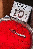 Jaipur, Rajasthan, India.  Red Powder used as a Coloring Agent for Decorative and Religious  Purposes.