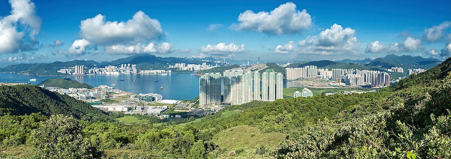 A nine-image panorama from High Junk Peak, looking over Tseung Kwan O towards Hong Kong Island.