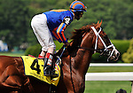 09 June 06: John Velazquez rides Munnings (no. 4) to victory in the 25th running of the grade 2 Woody Stephens Stakes for three year olds at Belmont Park in Elmont, New York.