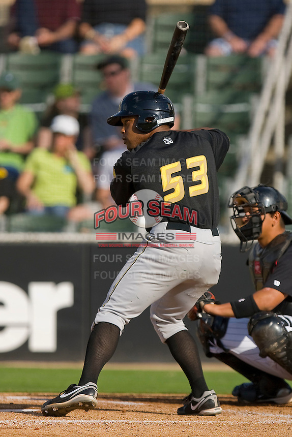 Evan Chambers #53 of the West Virginia Power at bat against the Kannapolis Intimidators at Fieldcrest Cannon Stadium April 25, 2010, in Kannapolis, North Carolina.  Photo by Brian Westerholt / Four Seam Images