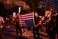 Washington, DC - May 31, 2020: Protesters gather near Lafayette Park across from the White House May 31, 2020 following the death of George Floyd in Minneapolis.  (Photo by Don Baxter/Media Images International)