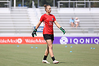CARY, NC - SEPTEMBER 12: Sam Murphy #42 of the North Carolina Courage warms up before a game between Portland Thorns FC and North Carolina Courage at Sahlen's Stadium at WakeMed Soccer Park on September 12, 2021 in Cary, North Carolina.