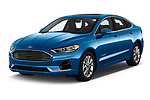 2019 Ford Fusion-Hybrid SEL 4 Door Sedan Angular Front automotive stock photos of front three quarter view