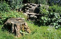 Naturgarten mit morschem Baumstubben, Stubben, Totholz und einem Steinhaufen, Legesteinhaufen als Lebensraum für Tiere, Lesesteinhaufen. Natural garden, stump, deadwood, dead wood, heap of stones, stone cairn
